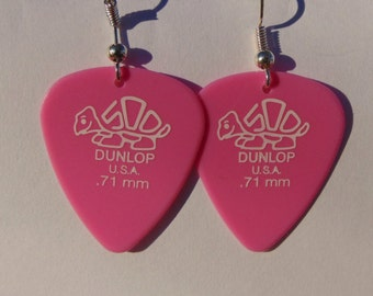 Baby Pink Dunlop Tortex Guitar Plectrum Earrings