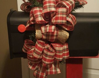 Mailbox Topper - Red Plaid and Burlap Mailbox Topper - Burlap Mailbox Swag - FlorEssenceDesigns