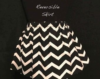 Chevron Reversible Skirt; Black & White Skirt; Hot Pink Heart Print Reversible Skirt; Girls Chevron Reversible Skirt; Girls Chevron Skirt