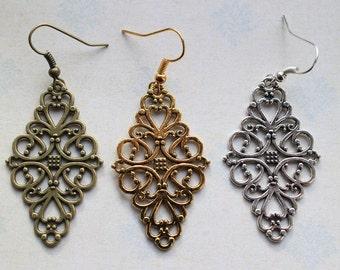 Fancy Filigree earrings ~ available in 3 colours