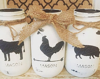SALE TODAY/Painted Farmhouse Mason Jars/ Kitchen Decor/ White Painted Mason Jar/ Rustic Home Decor/Farmhouse Decor/Pig-Rooster-Cow Jars/ Mas