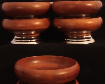 Vintage Hellerware Wood Bowl/Chrome Pedestal Salad Serving Set