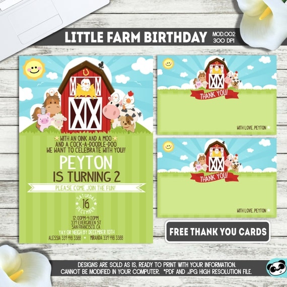PRINTABLE || Little Farm/Barnyard|| Boy/Girl Birthday Invitation|| FREE Thank you cards|| Any occasion, any wording!!