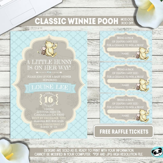 PRINTABLE || Classic Winnie Pooh|| Baby shower invitation|| FREE raffle tickets|| Any occasion, any wording!!