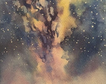 Night Sky Sunset Mountains Original Watercolor
