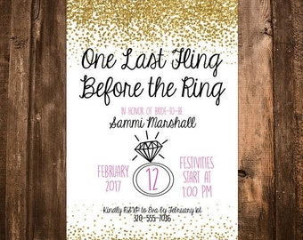 One Last Fling Before The Ring Bachelorette Party Invitation Gold Pink and Black Glitter - Customizable and Printable Invite