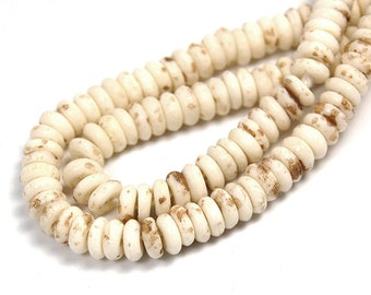 "Two 16"" strands Antiqued White Bone Beads 5x2mm Rondelle"