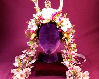 Pink and White Floral Headdress with Gold Antlers. Handcrafted floral headpiece with gold antlers makes you a faun for parties or festivals.