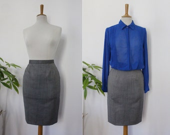 """DIOR, skirt suit / charcoal gray pencil, Christian DIOR """"BOUTIQUE"""" / size 36, S / high waist / mid / 100% wool / Vintage"""