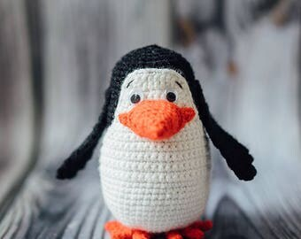 Plush Penguin, Crochet Penguin, Stuffed Penguin, Madagascar Penguin