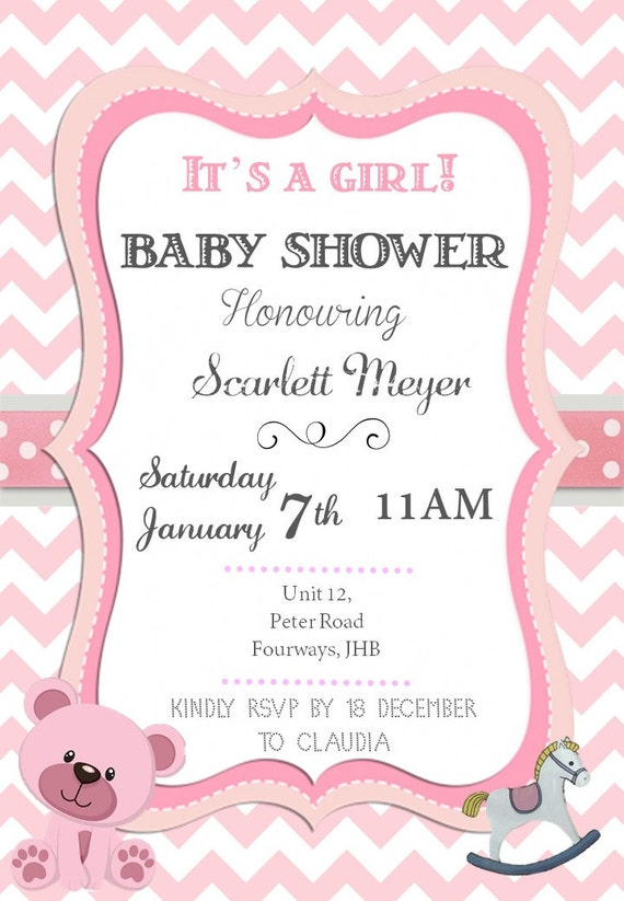 Baby shower, baby shower invite, baby shower invitation, personalized, digital file, its a girl