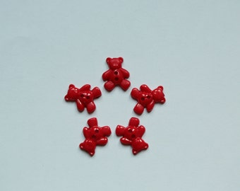 "Set: 5 red plastic buttoms ""Bear"""