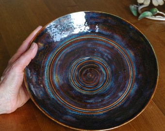 Ceramic Serving Plate // Brown and Blue Pottery Plate