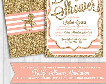 INSTANT DOWNLOAD: Baby Shower Invitation in Blush Pink & Gold Glitter.