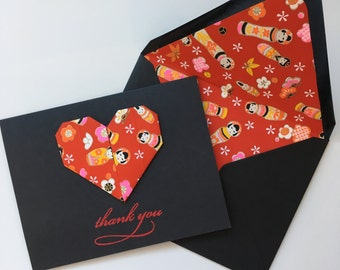 Red & Black Origami Heart Thank You Card
