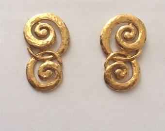 Vintage 1970's Gold Interlinked Swirls Large Statement Earrings