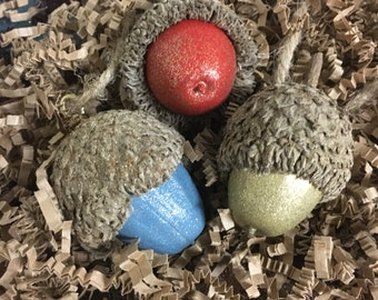 Large Acorn Ornament - Set of 3 - Unique Hand-Painted Giant Acorn Ornaments