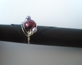 pearl, silver wirework ring