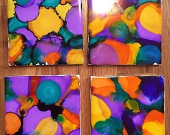 Watercolor Coasters; Purple; Set of 4 Coasters Orange Coasters; Colorful Coasters
