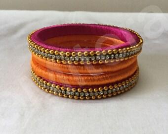Silk thread bangles set for ethnic wear