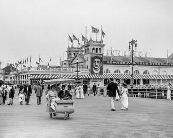 Atlantic City Photograph, Amusement Park Pier and Boardwalk Steeplechase, NJ, Black White Photo, Amusement Park, Print, Wall Art, Wall Decor