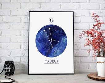 Zodiac Art Print,Taurus Constellation,Custom Zodiac Art,Astrology Poster,Taurus Gift,Taurus Star Sign,Astrology Gifts,Astrology Art