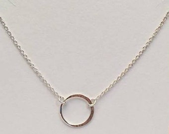 925 Sterling Silver Circle Connector Necklace, Karma Necklace, Eternity Necklace