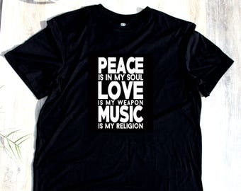 Peace Love Music T-shirt T Shirt Tee Mens Musician Gift Present New Dad  Husband Christmas Gift