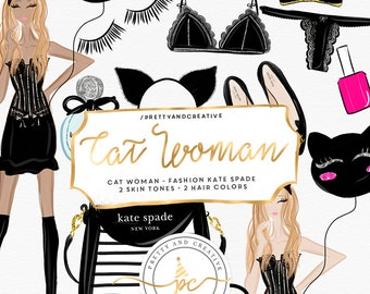 Cat Woman Clipart, Fashion Girls, Lingerie, Valentines Day, Planner Stickers, Planner Girl Digital Cliparts, Clip art