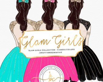 Glam Party Girls Clipart, Fashion Girl Clipart | Dress | Fashion | Night | Glam | Party | New Year | Fashion Girls | Clip Art |