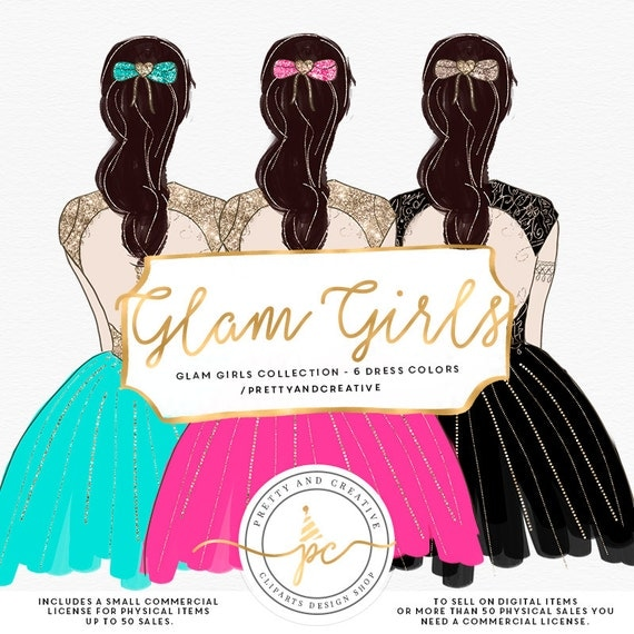Glam Party Girls Clipart Fashion Girl Clipart Dress