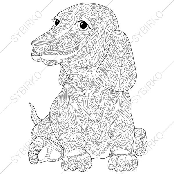 dachshund dog adult coloring book page zentangle doodle coloring pages for adults digital illustration instant download print - Dachshund Coloring Pages Print