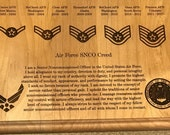 "United States Air Force Retirement Award 8"" x 10"" Plaque - Customized and Laser Engraved - Red Alder - Made in the USA"