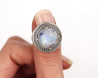 BOHO Rainbow Moonstone & 925 Sterling Silver Ring S. US 7.75 / FR 57