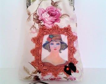 Floral glasses case, vintage clip purse, victorian purse, vintage clasp purse, floral glasses case, gift for women,  glasses accessoires