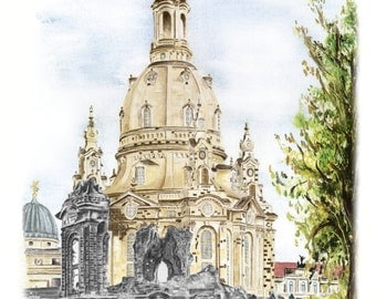 Collage of the Dresdner Frauenkirche - color - original signed art print