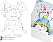 12 days of xmas/winter 2016 - holiday penguin printable coloring page