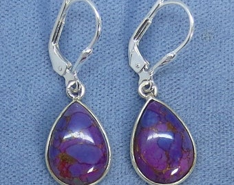 Mojave Purple Copper Turquoise Simple Leverback Earrings - Sterling Silver - 181506 - Free Shipping to the USA