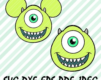 Mike Wazowski Monsters INC SVG DXF Eps Pdf Vector Cut Files Cricut Cameo Silhouette Mickey Design Cards Disney Pictures Birthday Party