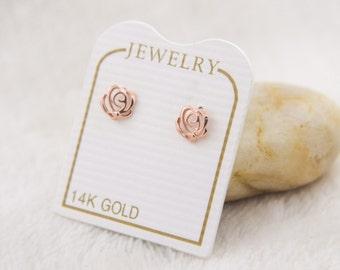Pink Rose Flower 14k Gold Earrings