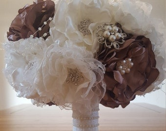 Fabric flower bouquet, Bridal bouquet, Brooch bouquet