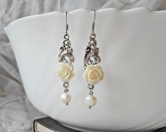 Pearl Earrings, Gemstone Earrings, Dangle Earrings, Chandelier Earrings, Flower Earrings, Long Earrings, Wedding Earrings, Rose Earrings