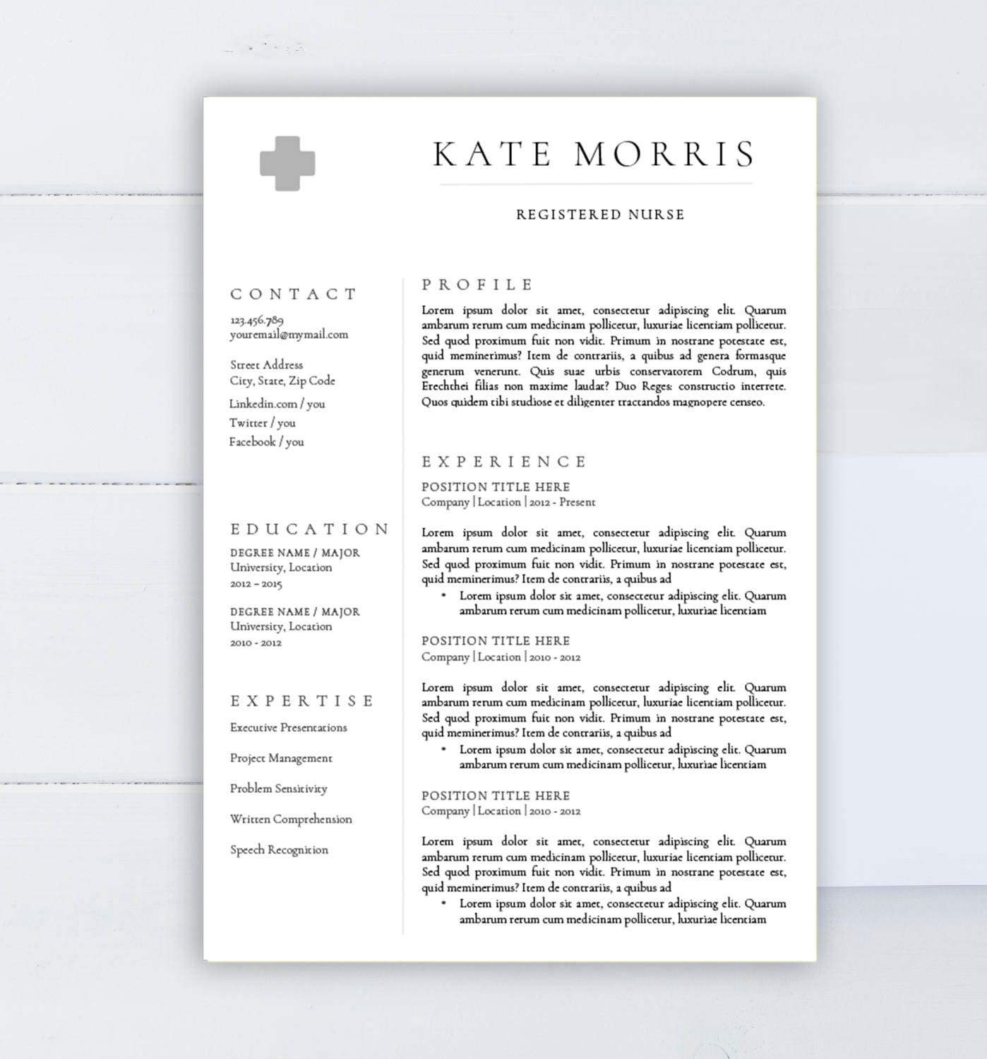 Minimalist resume template CV template for Word Two pages