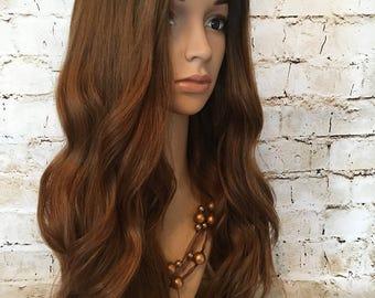 """Human Hair Wig Sheitel 24"""" L Cap Rooted Red/Auburn Hair"""