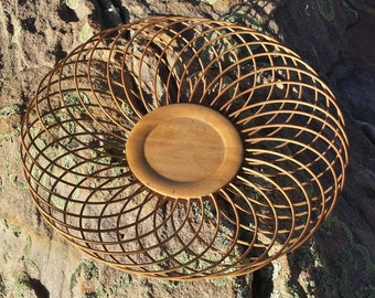 Vintage Bamboo Plate - Decorative Open Weave Plate - Wooden Lace Bowl - Made in Japan