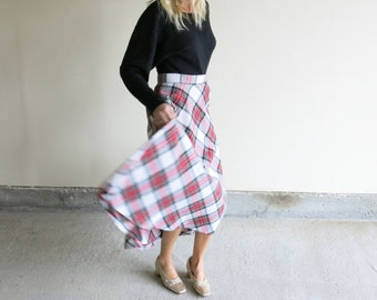 Plaid Wool Blend Circle Skirt