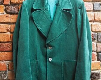 Men's 70s Bottle Green Velvet Two Piece Pant And Blazer Suit Size Large