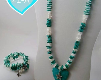 Dark Teal and white Shell-starfish necklace with matching bracelet
