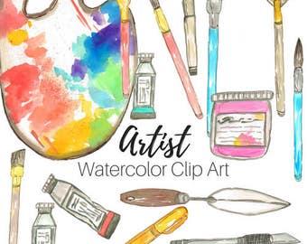 Watercolor Clip Art - Art Supplies Clip Art - Art School Clip Art - Artist clip art Commercial Use