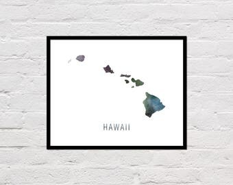 Hawaii Map Print, Printable Hawaii State Map, Hawaii Art Print, Hawaii Printable Wall Art, Watercolor Map, Hawaii Poster, Digital Download